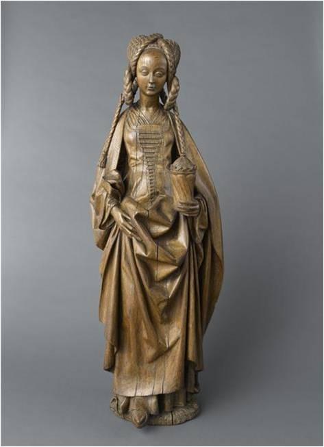 Fig. 4 : Anonyme, Sainte Marie-Madeleine, v. 1500, bois, 97 x 36 x 24 cm, Paris, Musée de Cluny.