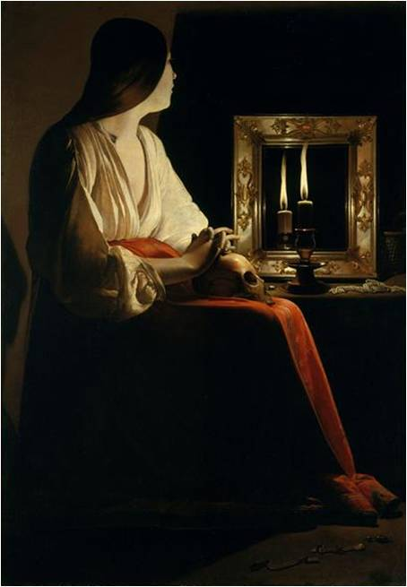 Fig. 3 ; Georges de la Tour, Sainte Marie Madeleine pénitente, début XVIIe siècle, huile sur toile, 133 x 102 cm, New York, Metropolitan Museum of Art.
