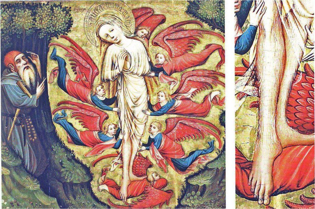 Ascension de Marie-Madeleine et vision de l'ermite, retable de l'église du cloître d'Hildesheim, 1415-1425, Münster, Westfälisches Landesmuseum für Kunst und Kultur.