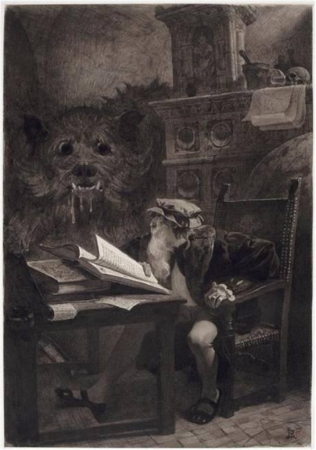 Jean-Paul Laurens, Faust assis, fin XIXe siècle, crayon noir et mine de plomb sur papier, 42.2 x 29.3 cm, Paris, Orsay.