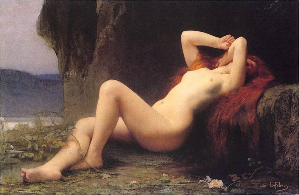 Jules Lefèbvre, Marie-Madeleine, 1876, huile sur toile, 71 x 113 cm, Saint Pétersbourg, Ermitage.