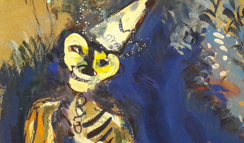 Marc Chagall, La Mort et le Bûcheron, détail, 1927, aquarelle et gouache sur papier, Paris, Collection Larock-Granoff.