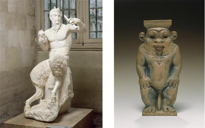Fig. 1 : Pan assis, 2e siècle après JC, marbre, 158 cm de haut, Paris, Louvre. Fig. 2 : Statuette du dieu Bès, 25e dynastie, pâte de verre, 16 x 8.5 cm, Berlin, Ägyptisches Museum und papyrussammlung.
