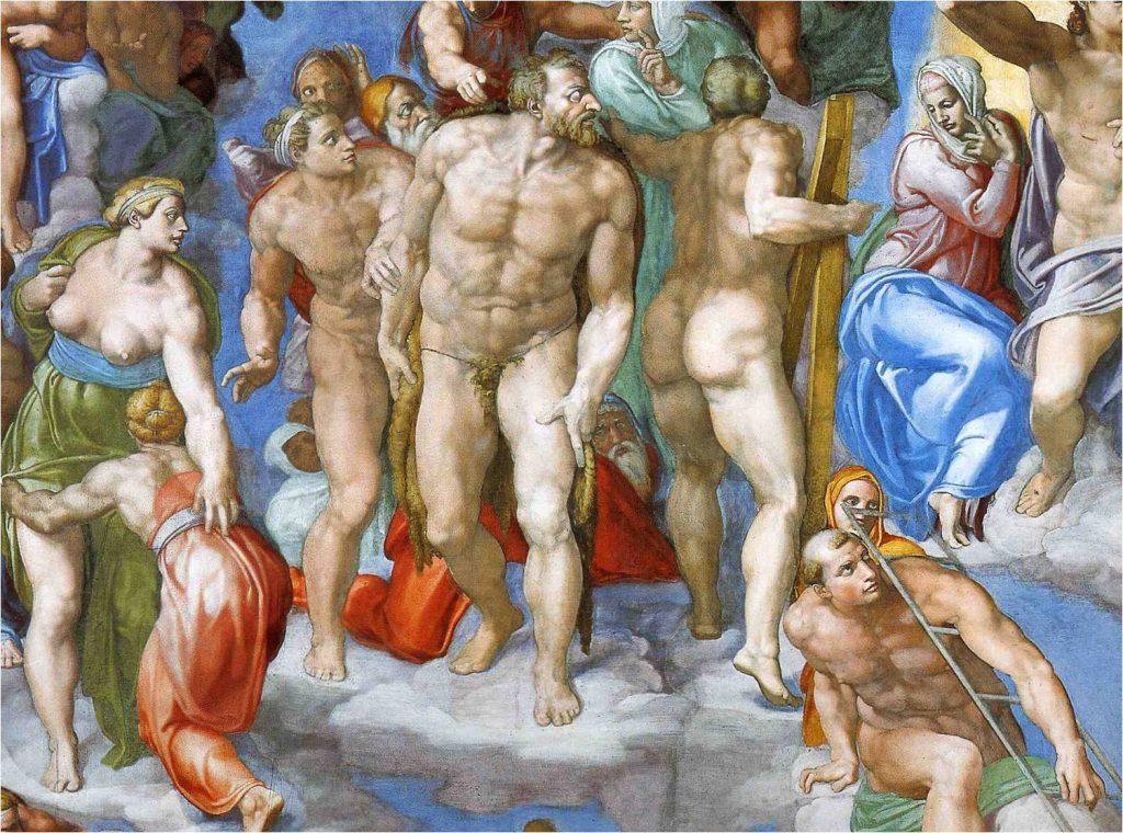 Fig. 2 : Michel-Ange, Le Jugement Dernier, détail d'un damné, 1536-1541, fresque, Vatican, Chapelle Sixtine.