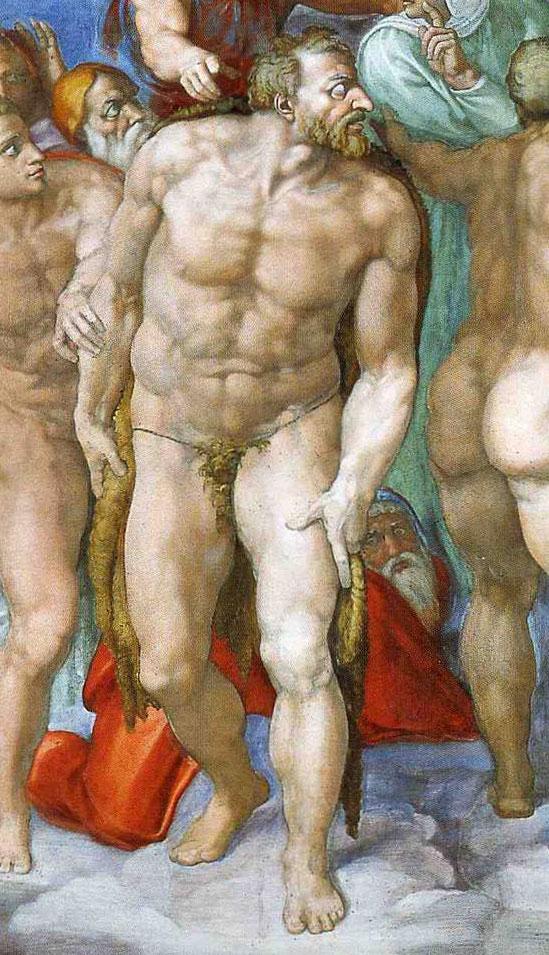 Fig. 5 : Michel-Ange, Le Jugement Dernier, détail de Jean-Baptiste, 1536-1541, fresque, Vatican, Chapelle Sixtine.