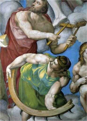 Fig. 1 : Michel-Ange, Le Jugement Dernier, détail de sainte Catherine, 1536-1541, fresque, Vatican, Chapelle Sixtine.