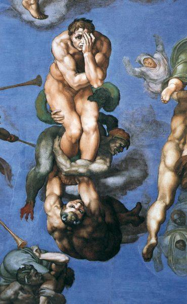 Fig. 1 : Michel-Ange, Le Jugement Dernier, détail d'un damné, 1536-1541, fresque, Vatican, Chapelle Sixtine.