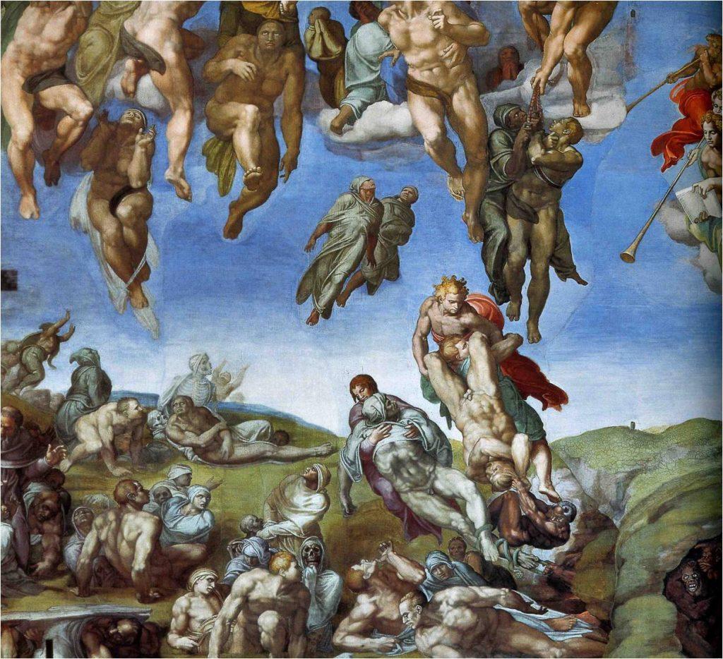 Michel-Ange, Le Jugement Dernier, détail de la résurrection, 1536-1541, fresque, Vatican, Chapelle Sixtine.