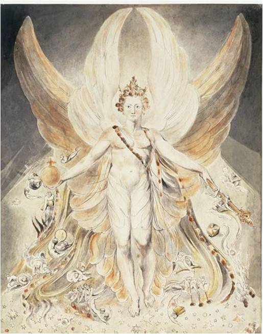 Fig. 4 : William Blake, Satan dans sa gloire originelle, 1805, aquarelle et encre sur papier, 42.9 x 33.9 cm, Londres, Tate Gallery.