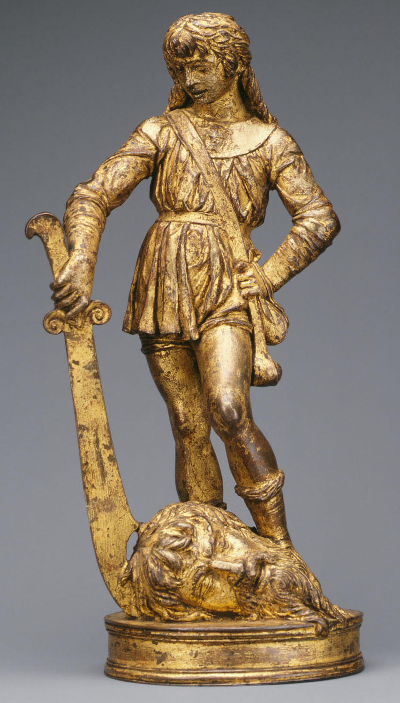 Bartolommeo Bellano, David avec la tête de Goliath, v. 1470-1480, bronze, 28.6 cm de haut, New York, Metropolitan museum.