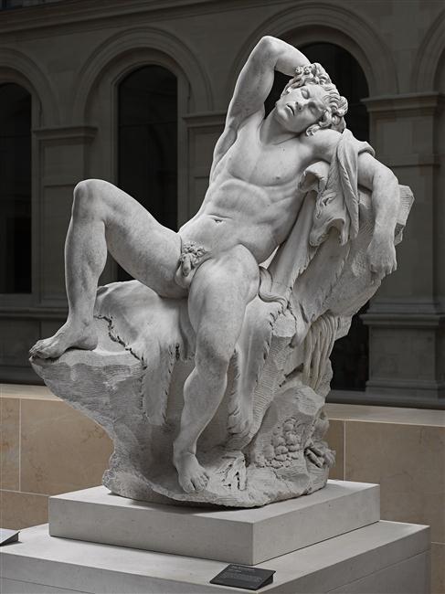 Edme Bouchardon, Faune endormi, copie d'après l'antique, marbre, 184 x 142 x 119.5 cm, Paris, Musée du Louvre.