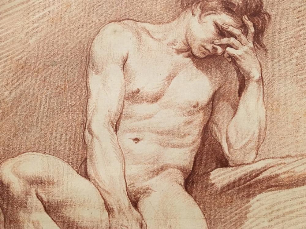 Edme Bouchardon, Homme nu assis de face (détail), v. 1737-1738, sanguine sur papier, Stockholm, Nationalmuseum.