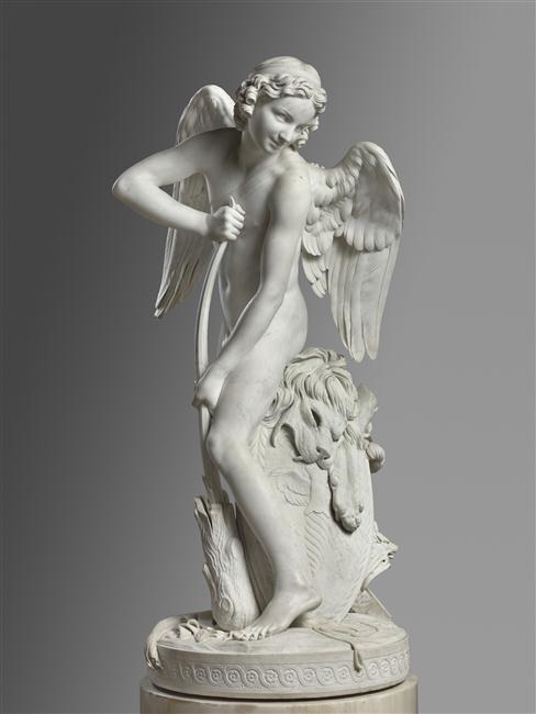Edme Bouchardon, L'Amour se faisant un arc dans la massue d'Hercule, 1750, marbre, 173 x 75 x 75 cm, Paris, Louvre.