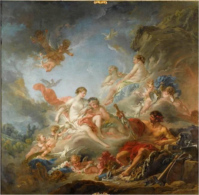 Fig. 11 : François Boucher, Vulcain présentant à Vénus des armes pour Enée, 1757, huile sur toile, 320 x 320 cm, Paris, Louvre.