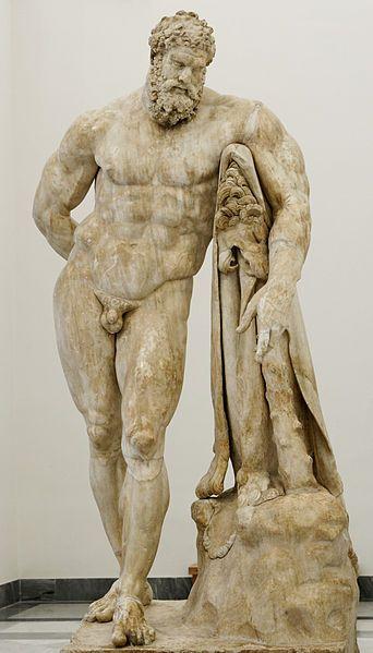 Glykon l'Athénien, Hercule Farnèse, 2e siècle av. JC, marbre, 317 cm, Naples, Museo archeologico nazionale.