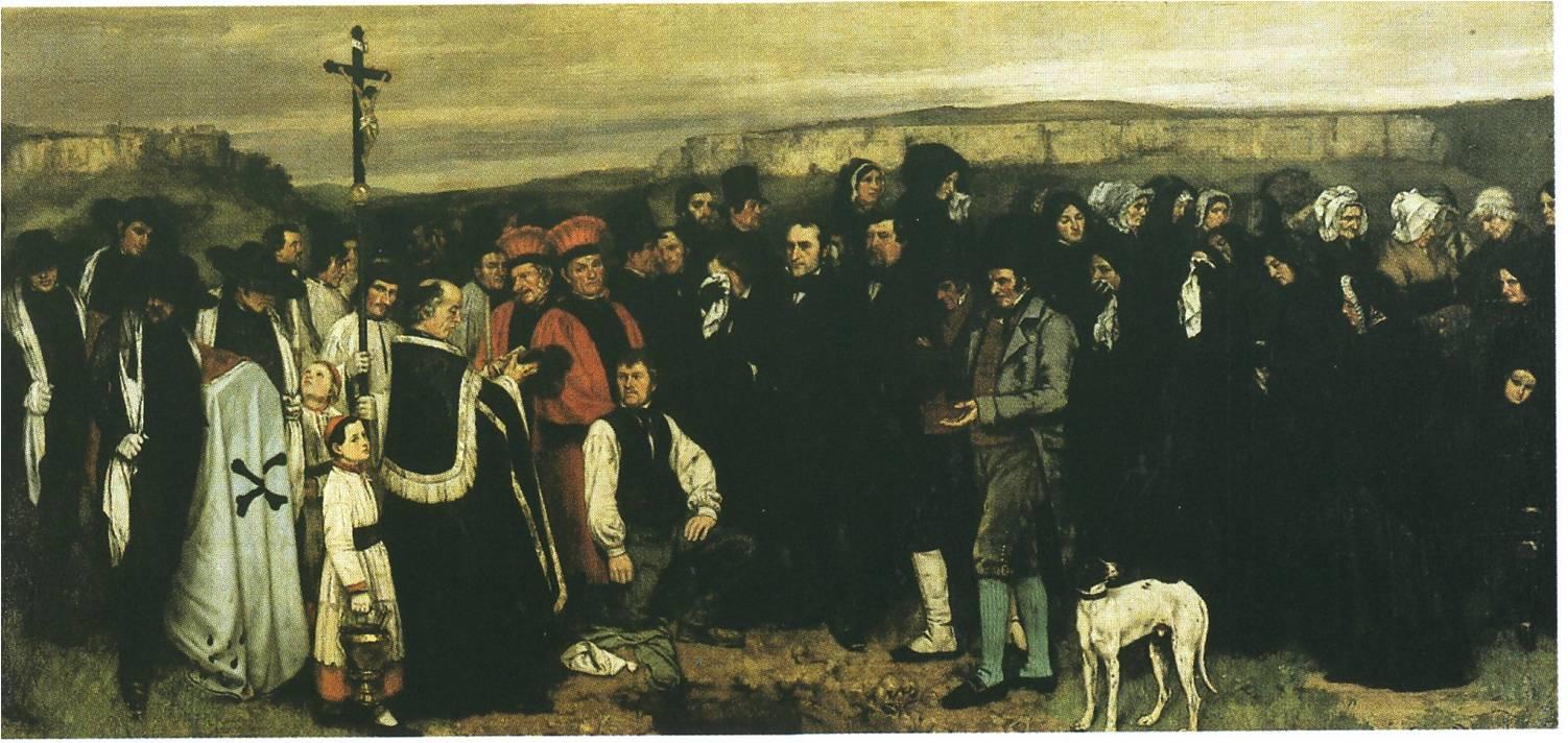 Gustave Courbet, L'Enterrement à Ornans, 1848-1850, huile sur toile, 311 x 668 cm, Paris, Orsay.