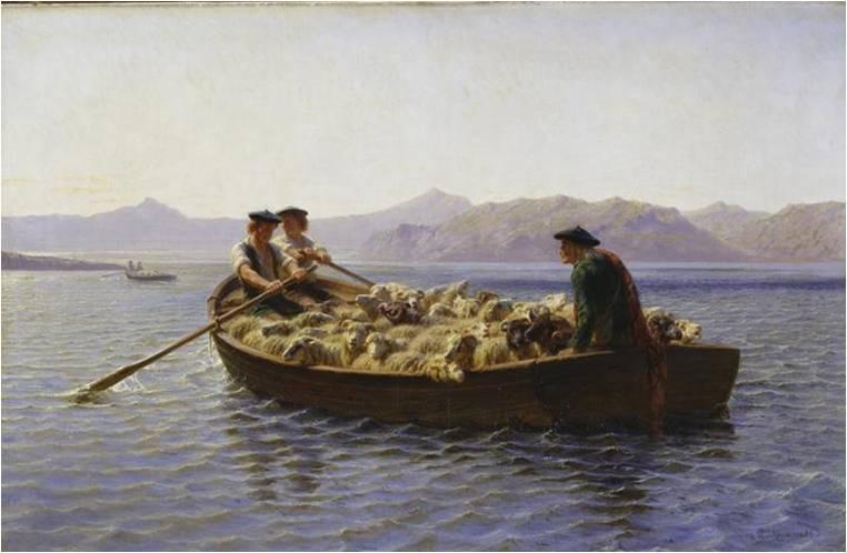 Rosa Bonheur, Changement de pâturage, 1888, huile sur toile, 64 x 100 cm, Hambourg, Kunsthalle.