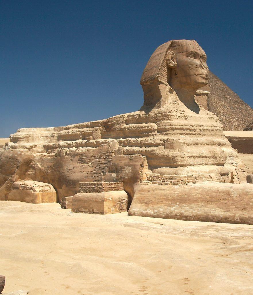 Sphinx, 2500 av. JC, pierre, 20.22 x 73.5 x 14 m, Egypte, Gizeh.
