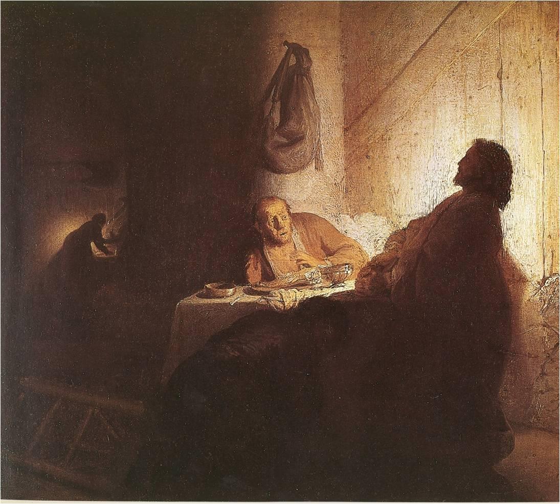 Fig. 5 : Rembrandt, Le Repas des pèlerins d'Emmaüs vers 1629, huile sur papier marouflé sur bois, 374 x 423 cm, Paris, Musée Jacquemart-André.