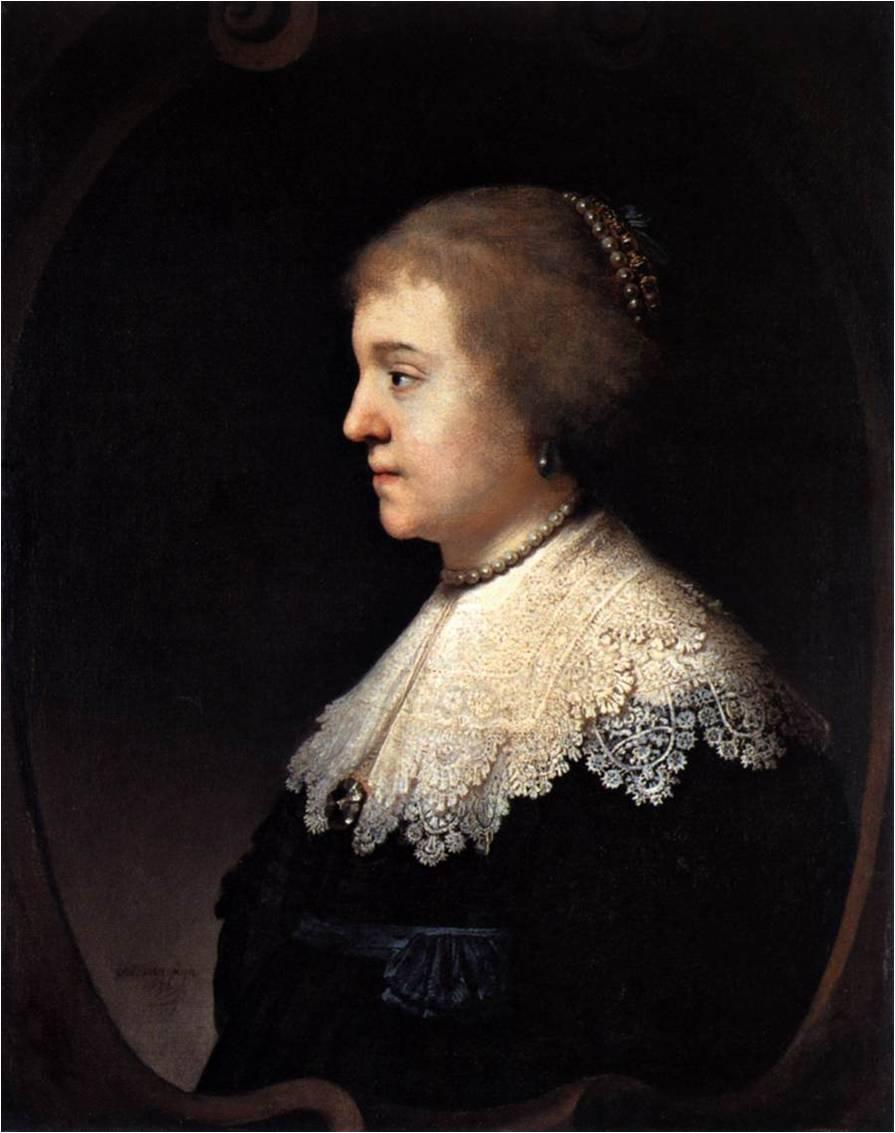 Fig. 3 : Rembrandt, Portrait d'Amalia van Solms, v. 1632, huile sur bois, 69 x 56 cm, Paris, Musée Jacquemart-André.