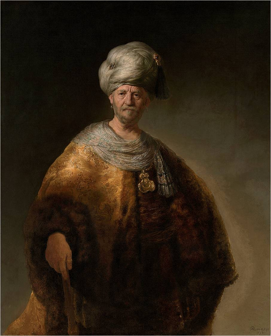 Fig. 6 : Rembrandt, Vieil homme en costume oriental, 1632, huile sur toile, 152,7 x 111,1 cm, New York, Metropolitan Museum.